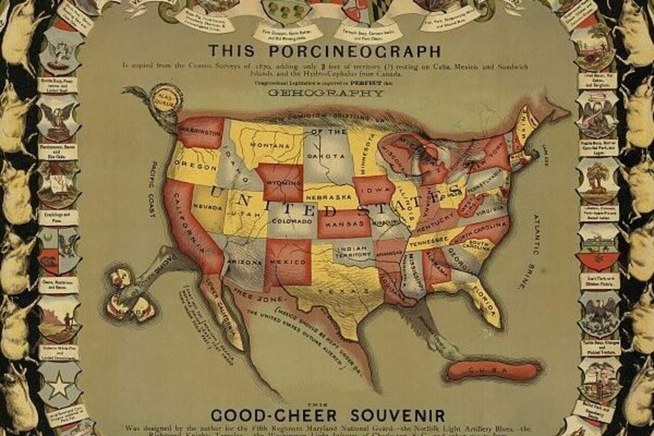 The Porcineograph: A pig-shaped map of the United States.