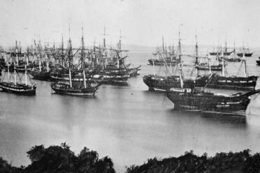 Abandoned Gold Rush ships in San Francisco Bay, 1849.