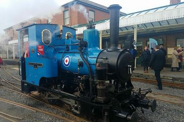 Douglas the train shows off its new blue livery.
