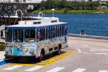A trolley tour in Miami.