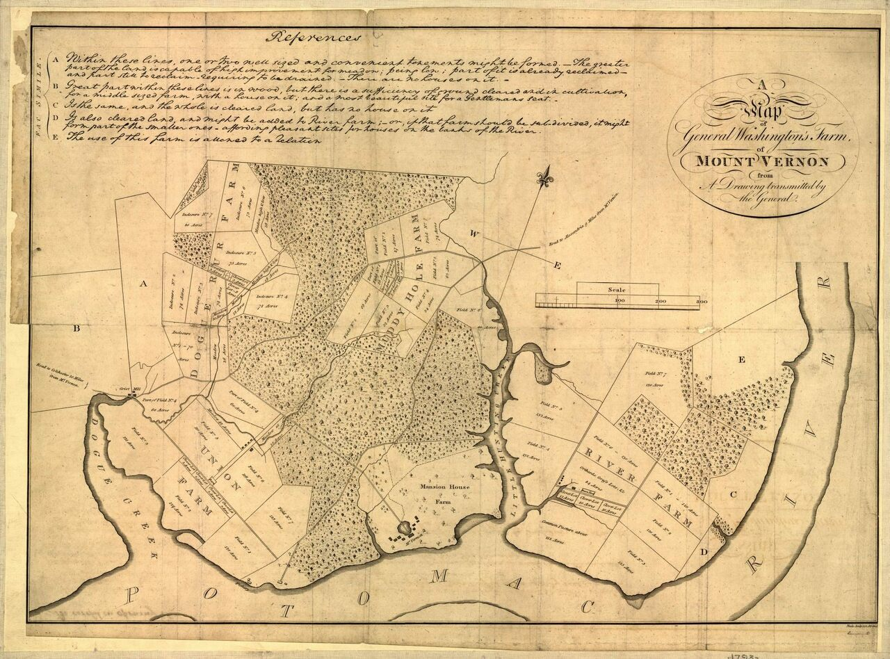 A map of U.S. President George Washington's Mount Vernon estate from a drawing transmitted by the General. Published in 1801.