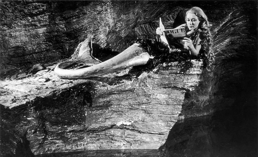Actress Glynis Johns as Miranda, a mermaid living in a cave.