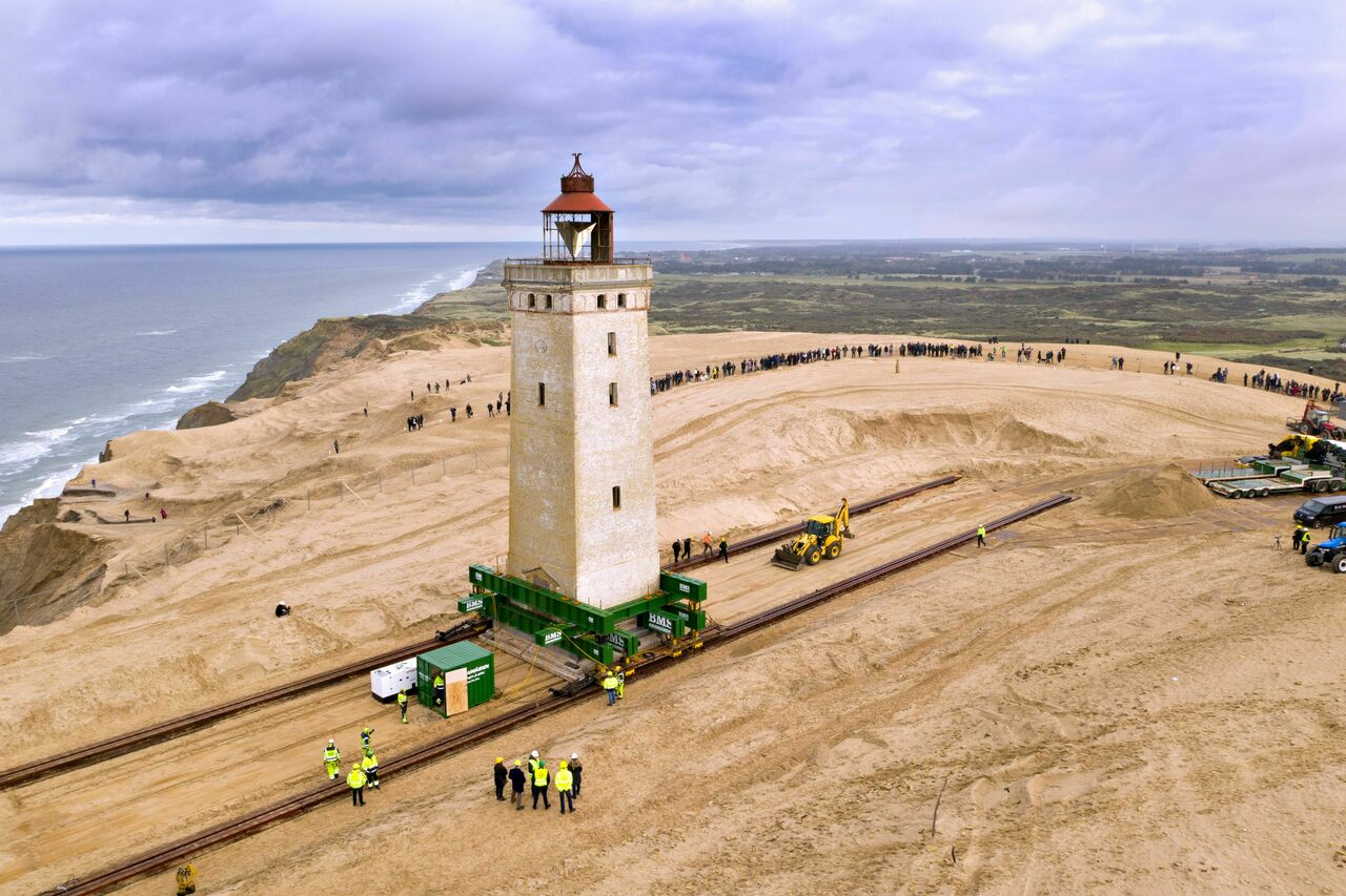 The Rubjerg Knude lighthouse, on the move.