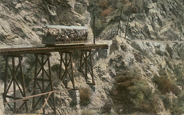 Visitors on a Railcar Descending Mt. Lowe