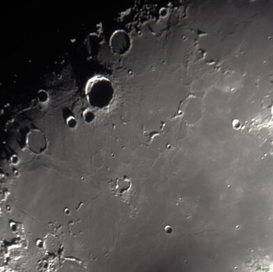 """Image of the lunar crater """"Bullialdus"""" taken with an iPhone 4 through the eyepiece of the 60-inch telescope"""