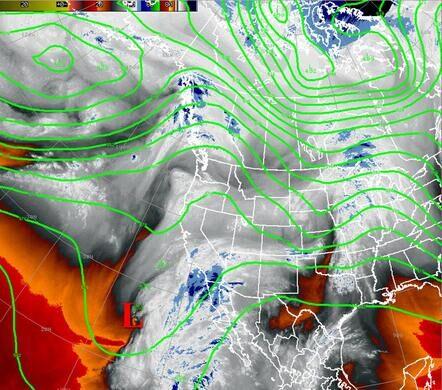 Water vapor satellite image