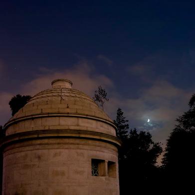 Moon and the Fahnestock mausoleum, by Mano Makrakis, July 2013