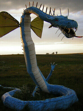 Just one of the multiple dragon sculptures.
