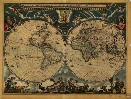 oan Blaeu. Nova et Accuratissima Totius Terrarum Orbis Tabula. Amsterdam, 1664.  .