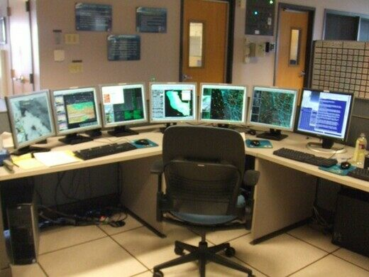 Satellite and radar monitoring workstation