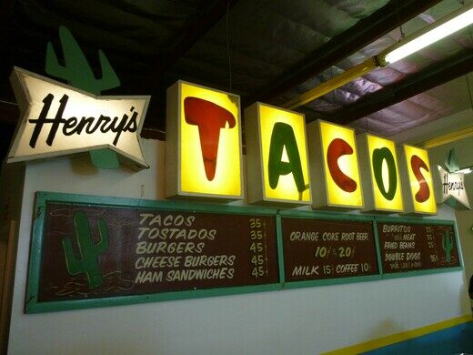 Rescued sign from Henry's Tacos