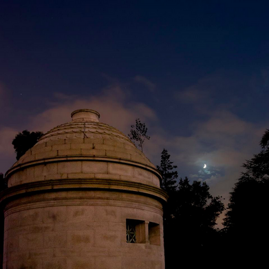 Moon and the Fahnestock mausoleum, by Mano Makrakis, July 2013
