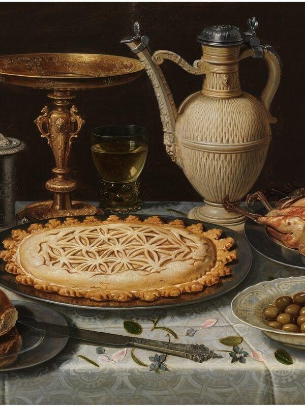 Clara Peeters, Table With a Cloth, Salt Cellar, Gilt Tazza, Pie, Jug, Porcelain Dish With Olives, and Roast Fowl, c. 1611