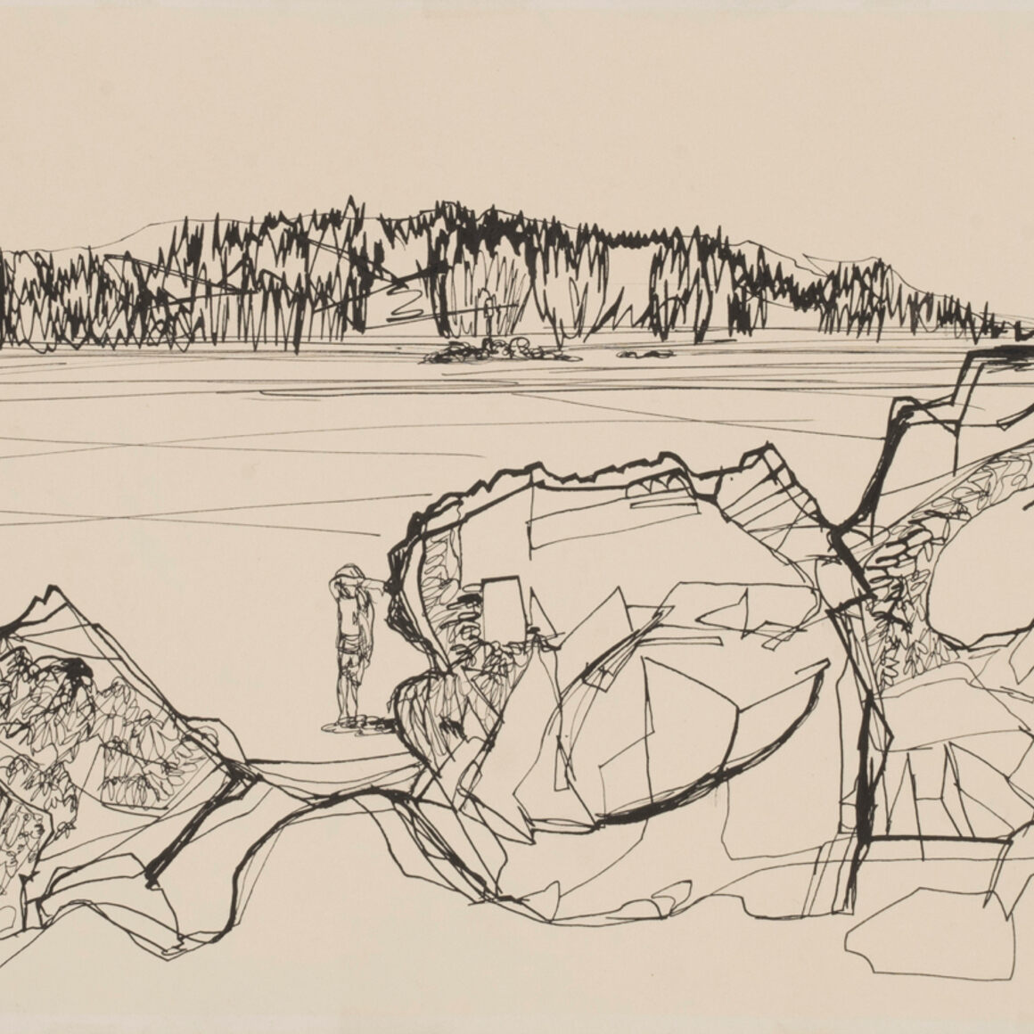 Jane Hamilton Hovde, Figure in Landscape, 1968. Ink on paper. Henry Art Gallery, University of Washington, Seattle, gift of Katherine and Karin Hovde, daughters of the artist, 2018.330. © The Estate of Jane Hamilton Hovde.
