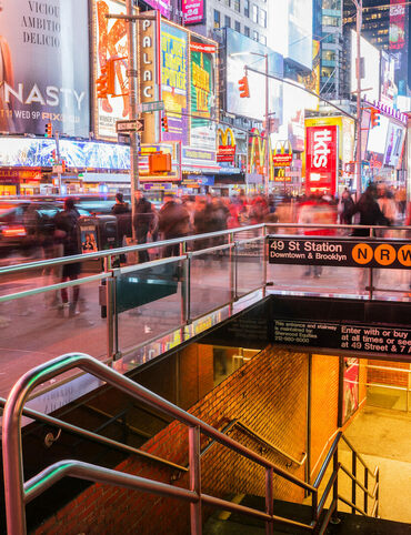 A subway entrance in Times Square.