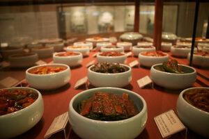 Different varieties of kimchi at the museum.