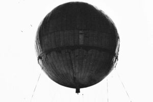 Completed Japanese balloon is inflated for laboratory tests at a California base, recovered in 1945.