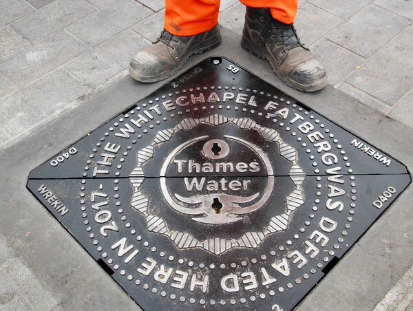 Whitechapel Fatberg Manhole Cover in London, England