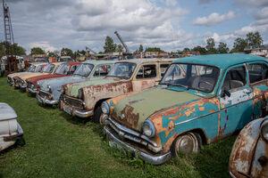 Soviet-era passenger cars.