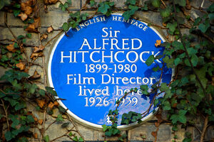 Heritage plaque marking home of Alfred Hitchcock.