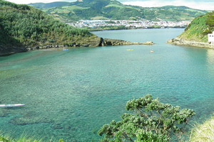 The crystal clear lagoon was once an underwater volcano.
