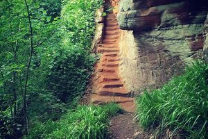 Steps leading up to Peden's Cave