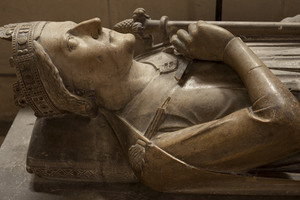 King Richard the Lionheart's heart is entombed beneath his effigy.