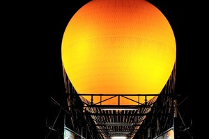 The Orange Balloon at the Orange County Great Park at night.