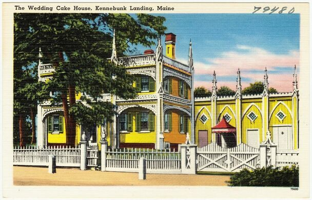 A Postcard Depicting The Wedding Cake House Circa 1930 1945 Boston Public Library Tichnor Brothers Collection Domain