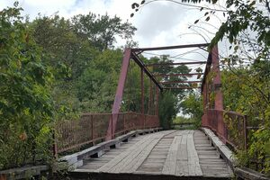 Looking onto the bridge from the walking trail.