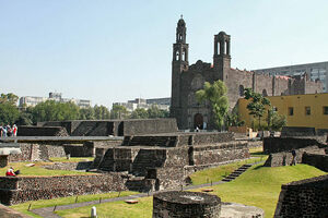 The ruins of Tlatelolco with the backdrop of the Plaza de las Tres Culturas.