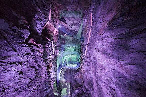 Llechwedd Caverns Trampoline Park Gwynedd Wales Atlas Obscura - Gigantic underground trampoline inside cave looks amazing