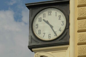 The clock showing the time of the bombing.