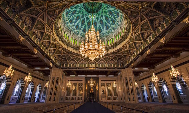 Chandelier at the Sultan Qaboos Grand Mosque – Muscat, Oman ...