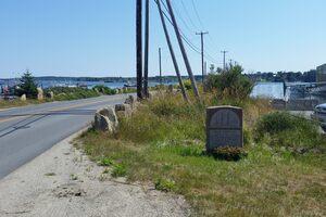 The memorial stone and bridge.