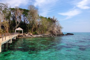 Dock and shelter — the only structures on Snake Island