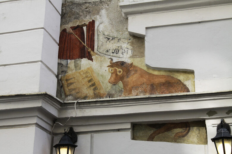Wolf And Cow Playing Backgammon Mural Vienna Austria Atlas Obscura