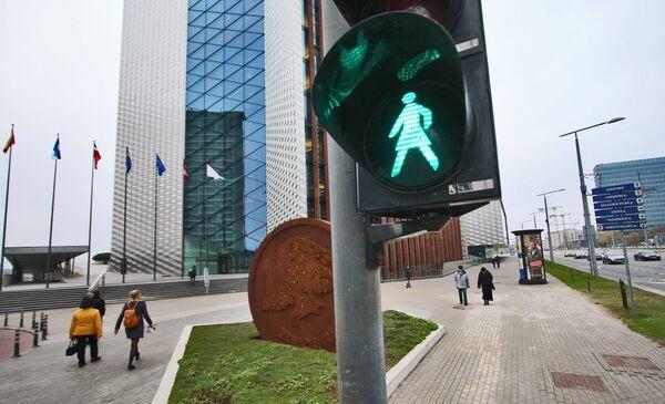 Female Pedestrian Lights in Vilnius, Lithuania