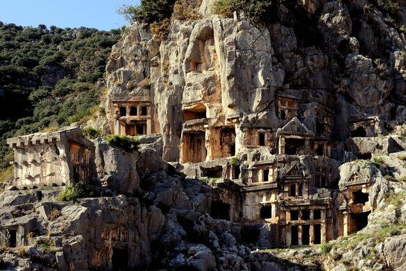 Rock Tombs At Myra Saffron Blaze Creative Commons