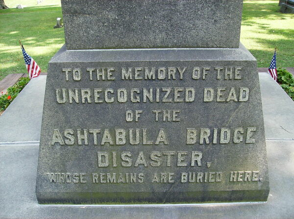 Ashtabula Bridge Disaster Monument in Ashtabula, Ohio