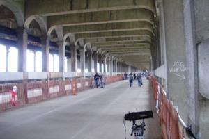 The streetcar deck of the Detroit-Superior Bridge open in 2009.