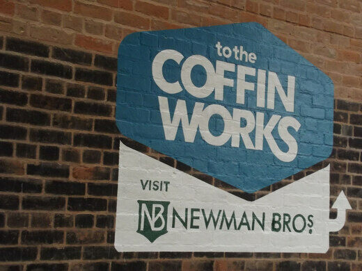 The Coffin Works Logo Is In The Shape Of A Coffin. Elliott Brown / CC BY SA  2.0