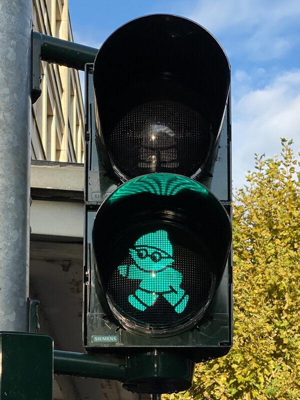 Mainzelmännchen Traffic Lights in Mainz, Germany