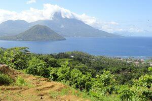 Maitara Island and Tidore Island seen from Ternate.