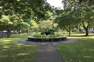 This serene garden and modest fountain marks the heart of Montcalm Park.