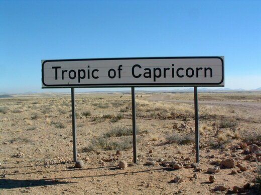 Tropic Of Capricorn On World Map.Tropic Of Capricorn Crossing Namibia Atlas Obscura