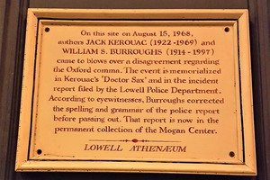 Plaque commemorating the fake altercation.