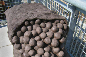 Four 50-pound burlap potato sacks sculpted of cast stone recall the massive potato sheds that burned here in the 1930s.