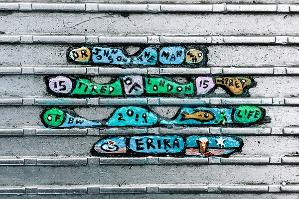 Millennium Bridge Tiny Chewing Gum Art in London, England