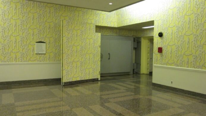 One of the three blast doors leading to the fallout shelter built for the us congress in the 1950s underneath the greenbrier resort user submitted